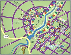 Happily Inc Downtown Map